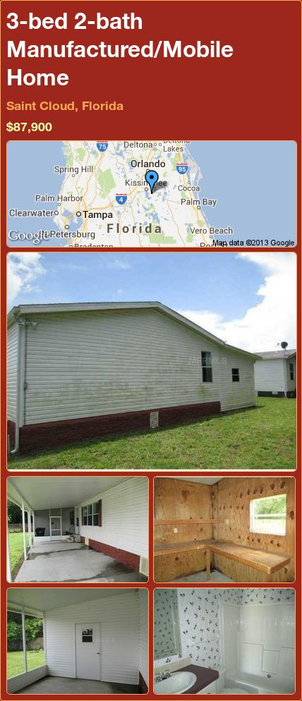 3-bed 2-bath Manufactured/Mobile Home in Saint Cloud, Florida ►$87,900 #PropertyForSale #RealEstate #Florida http://florida-magic.com/properties/19205-manufactured-mobile-home-for-sale-in-saint-cloud-florida-with-3-bedroom-2-bathroom