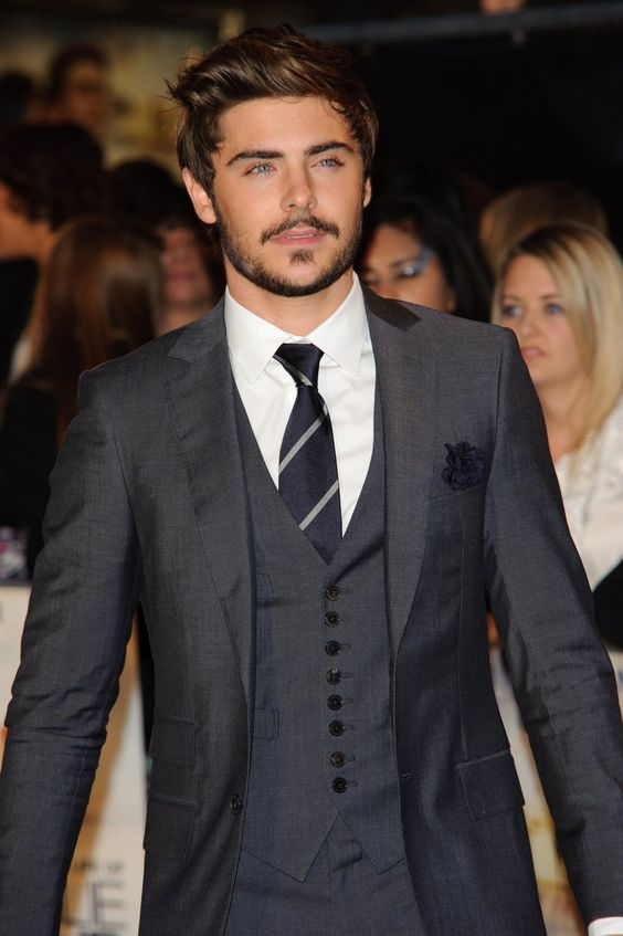 Zac Efron dark gray shiny suit white shirt gray vest gray striped