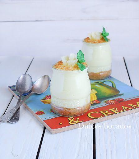 Cheesecake de piña  coco en vasitos {sin horno}