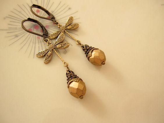 Goldlibellchen ❀ Ohrringe vintage von Summersoul auf DaWanda.com