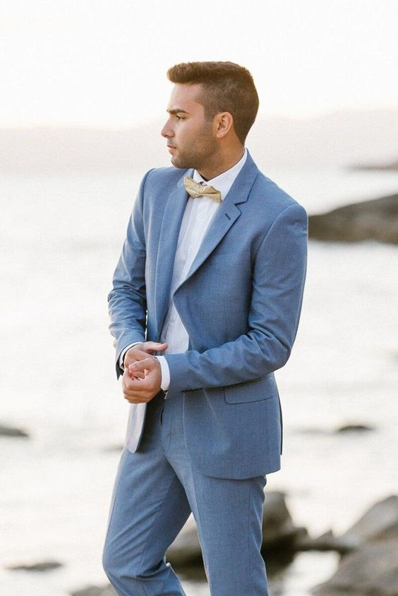 24 Men's Wedding Attire For Beach Celebration ❤ mens wedding attire blue jacket with bow tie chris photography #weddingforward #wedding #bride
