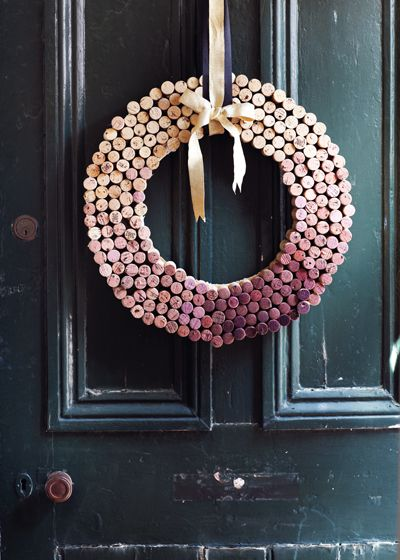 Use wine corks to create a festive wreath