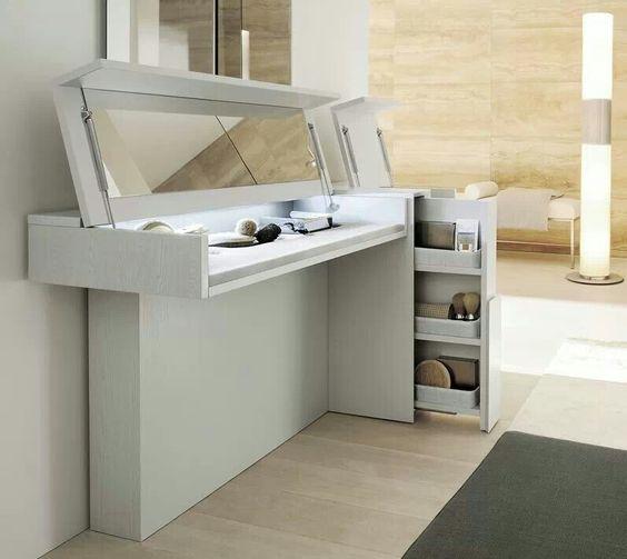 Hidden mirror dressing table room ideas