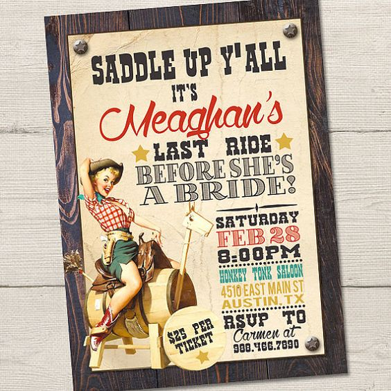 Cowgirl Bachelorette Invitation PRINTABLE Country by partymonkey