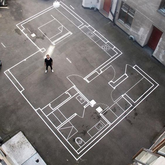 Drawn Up: Architecture Firm Uses Tape for Full-Scale Floor Plansjg - #Architecture #Drawn #Firm #Floor #FullScale #Plansjg #Tape