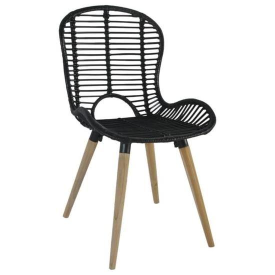 Chaise de jardin 2 pcs Rotin 48x64x85 cm Noir | Shopping ...