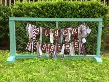 Texas A&M Gig'em Aggies maroon and white burlap pennants and rag banners to decorate