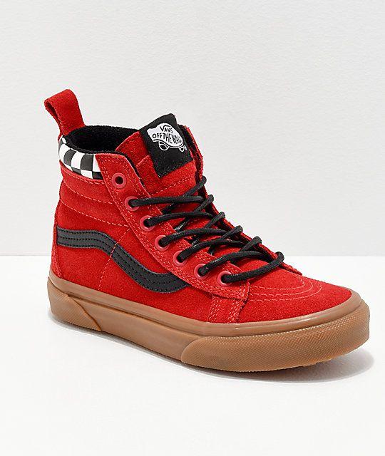 Vans Sk8 Hi MTE Checkerboard & Red Shoes Røde sko, semsket skinn  Red shoes, Suede