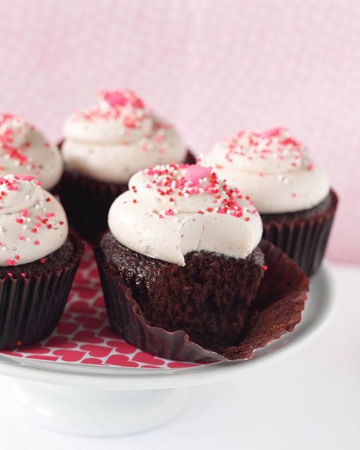 Chocolate and Raspberry Cupcakes by Treats - may adapt to add a little raspberry to the cake but great instructions for the icing...