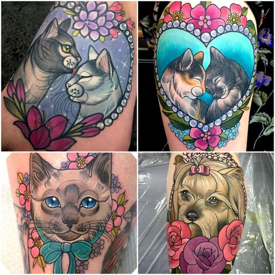 cat portrait tattoo