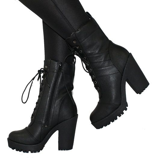 high heeled combat boots | MILLY Black High Heel Military Combat