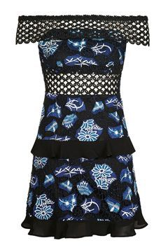 Crochet Ruffle Bardot Dress