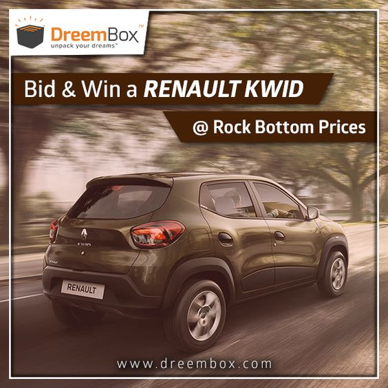 Bring a Renault Kwid to your home at just Rs. 10000. Just Register and Play at www.dreembox.com. #win #winner #prizes #contest #bid #auction #india #traveldiaries #kwid #renault #bikes #cars #dreembox #amazing #crazy