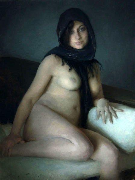 Grey Nude - Jeremy Lipking (1975, American)