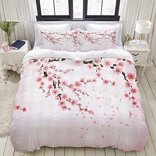 Zoanen Housse De Couette 240x260cm Branche De Cerisier Japonais Avec Fleurs Epanouies Parure De Lit 2 Perso En 2020 Parure De Lit Lit 2 Personnes Housse De Couette