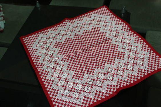 Jogo de Cozinha xadrez bordado - 3 peças