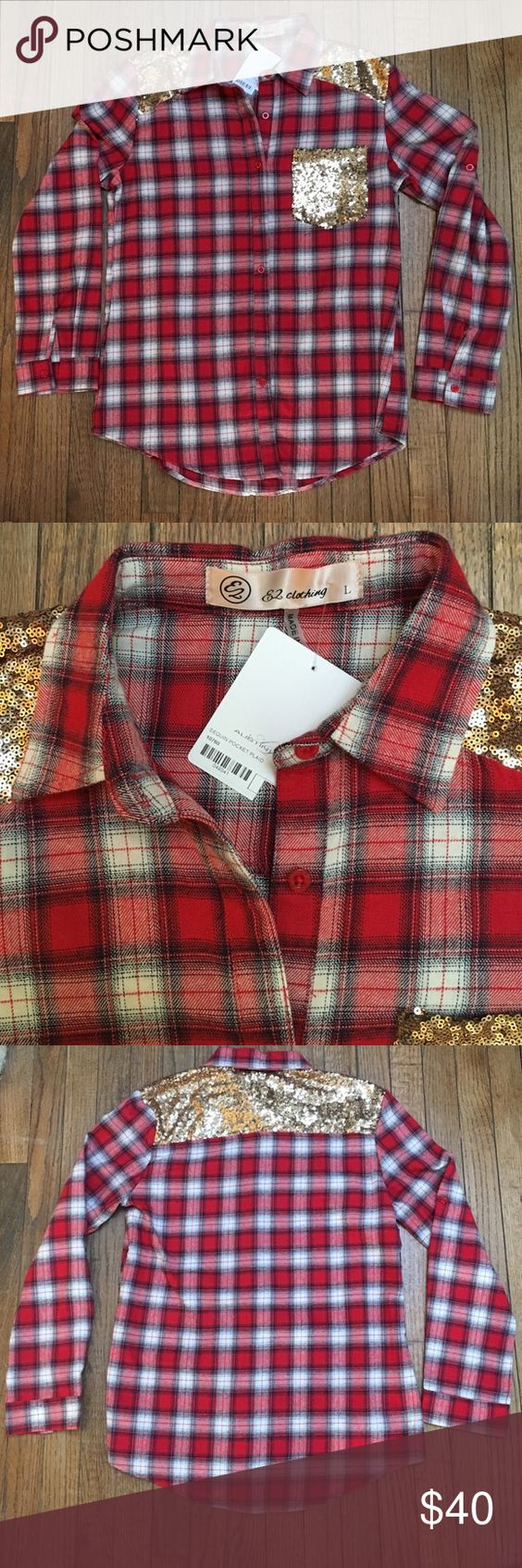 Red Plaid sequin flannel button down Perfect condition; never worn. Purchased from a boutique in Dallas. Perfect for fall! Tops Button Down Shirts