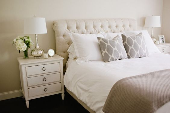 Style Me Pretty - bedrooms - beige walls, beige wall color, three drawer nightstand, ivory nightstand, traditional ivory nightstand, mercury glass table lamp, white bedding, taupe coverlet, gray ikat dot pillow, beige linen tufted headboard, button tufted linen headboard, upholstered sleigh headboard, upholstered tufted sleigh headboard, neutral bedroom, neutral bedroom schemes, feminine bedrooms, ikat dot pillows, beige bedrooms, white and beige bedrooms, neutral bedrooms, mercury glass ...