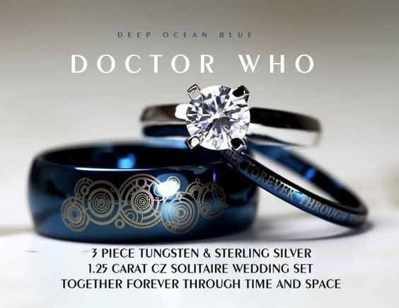 "Blue Doctor Who his and her wedding rings in blue tungsten with matching laser engraved Gallifreyan: ""Together forever through time and space"" #geek #love"