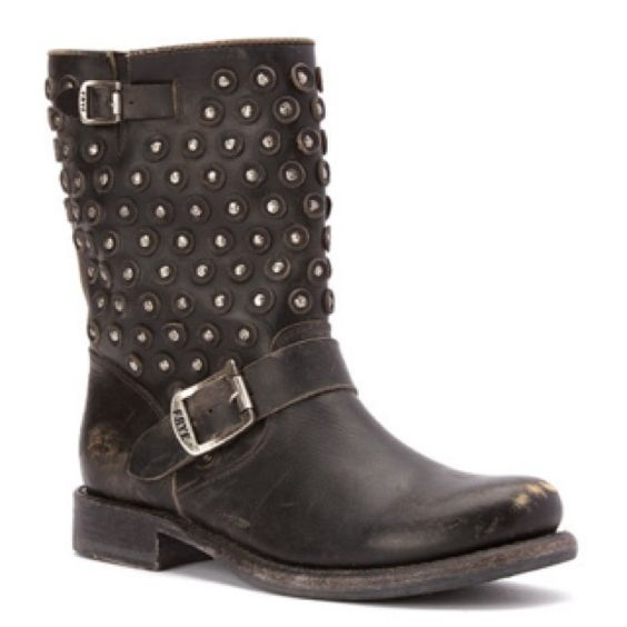 "FRYE BLACK STONE WASHED SHORT BOOT Leather upper. 1.25"" heel height. 8.5"" shaft height. 15"" circumference. Hand hammed brass studs. Rubber heel. Leather lining. Cushioned footbed. NO TRADES. NO MODELING. Frye Shoes Ankle Boots & Booties"