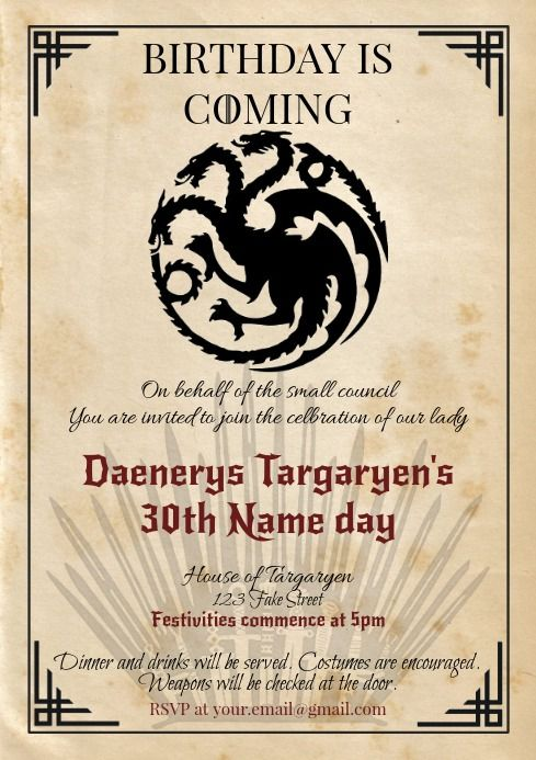 Template Game Of Thrones Got Birthday Targary Happy Birthday Posters Birthday Poster Birthday Template