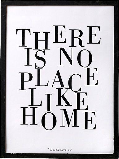 Bild mit Rahmen, Bloomingville, Dieses Bild mit Rahmen ist ein echter Blickfang. Der Bilderrahmen mit dem Print: »There is no place like home« ist eine tolle Wanddekoration und ist perfekt für ein schönes Wohnambiente.