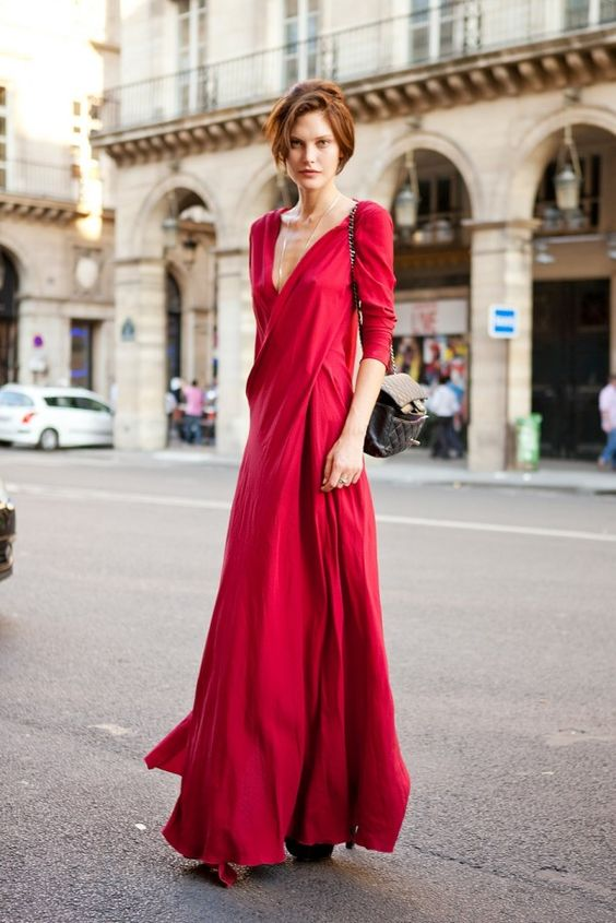 Red dress long necklaces