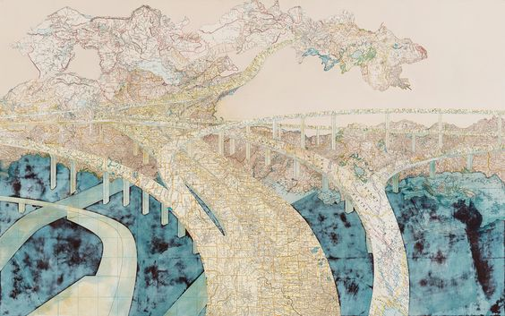 Artist uses world maps to create pictures