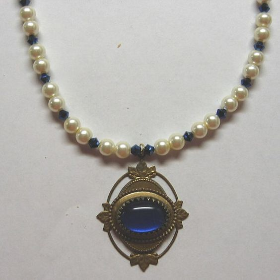 Blue Vintage Glass and Pearl Necklace by treasuresbycathy on Etsy, $24.95
