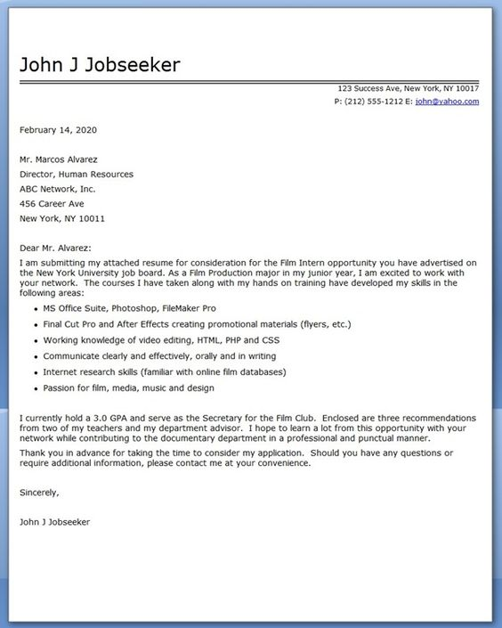 Student Sends Great Cover Letter For Internship At Bank.