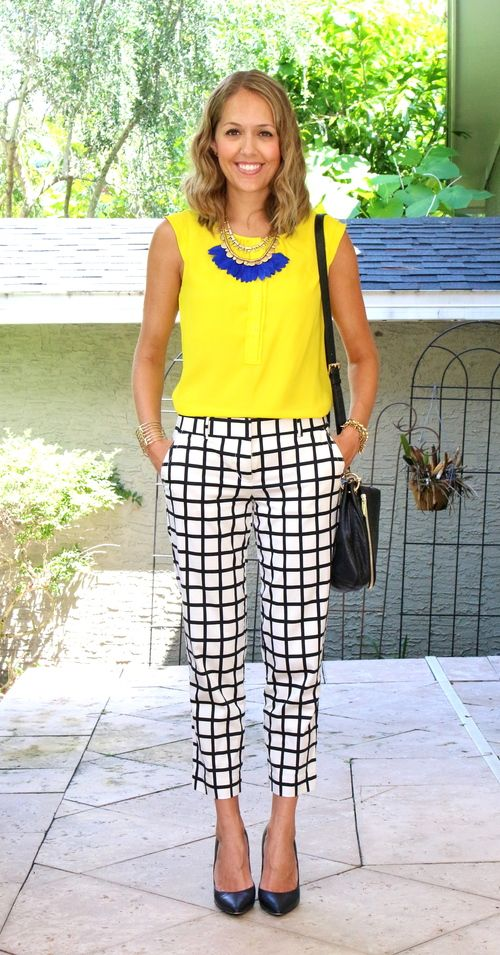 Stella & Dot plume necklace, yellow top, windowpane pants: