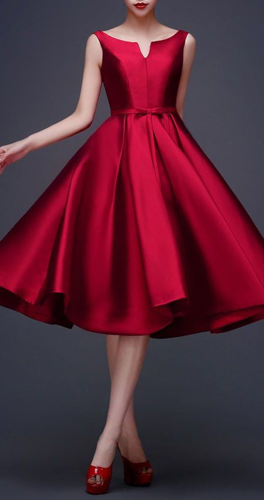 This is the most perfect dress I've ever seen Wine Red Bowknot Waist Dress: