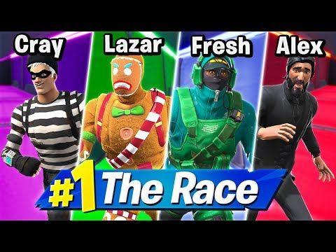 4 Person Deathrun Race Ft Lazarbeam Crayator Alexace Youtube Racing Person Fortnite