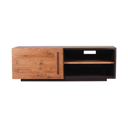 Both durable and affordable, this console is made with gorgeous teak wood and has one sliding door, with a convenient wire and cable window in the back. Great for just about anything, use it for your TV and movie collections, extra storage, a record player and your vinyl collection—you name it. Its high-quality craftsmanship means this luxe console will far outlast its competition, while its crisp lines and angles make this a timeless piece you'll actually want to keep around.
