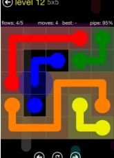 """Flow Free by Big Duck Games LLC. This is an all-absorbing puzzle game that challenges kids' spatial reasoning and critical thinking skills. Players must connect matching colored dots on a grid, creating a """"pipe"""" between each dot, without pipes from different colors crossing. Increasingly complex levels add colors and spaces to the grid and require more forethought and planning. Free on iTunes."""