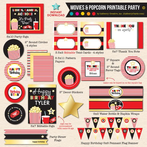 Movies & Popcorn Birthday Party - DIY Printable Party Pack
