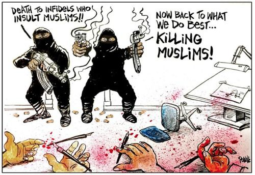 c-alme:  The cartoons drawn about the Charlie Hebdo shooting this week have been really powerful and this is one of my favourites. These extremists are not real muslims they just use religion as an excuse and then kill their own people. They don't represent muslims, they represent everything that is wrong in this world.