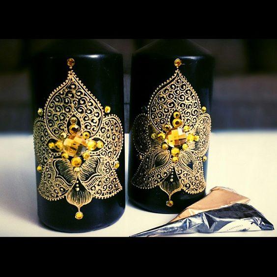 beautiful black henna candles - Bougie Henn Mariage