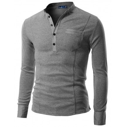Mens Casual Henley Shirts - so much better than the tacky clothes he wore before we met