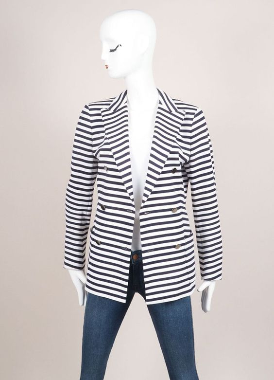 White and Navy Knit Stripe Double Breasted Long Sleeve Blazer