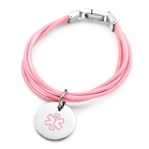 Pink Leather Stainless Medical ID Alert Bracelet
