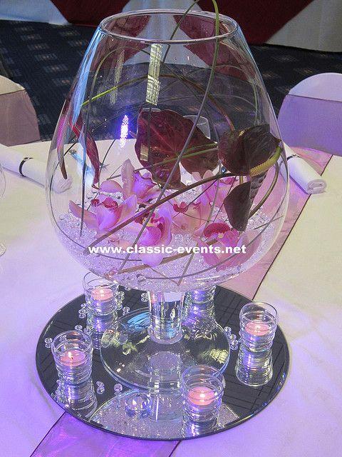Wedding centerpiece with large brandy glass vase