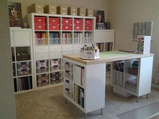 Ikea Expedit Shelving Units Craft Island By Jacqueline Cards And Paper Craft Woodworking Ikea Craft Room Craft Room Design Ikea Crafts