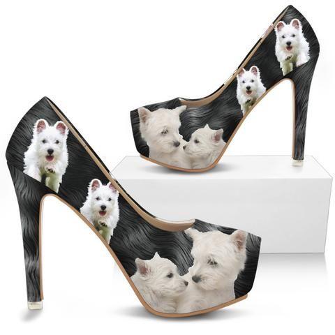 Shoetup West Highland White Terrier Westie Print Heels West Highland White Terrier Westies Heels