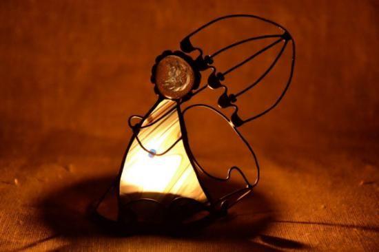 portavelas vitral hecho a mano vidrio hecho a mano