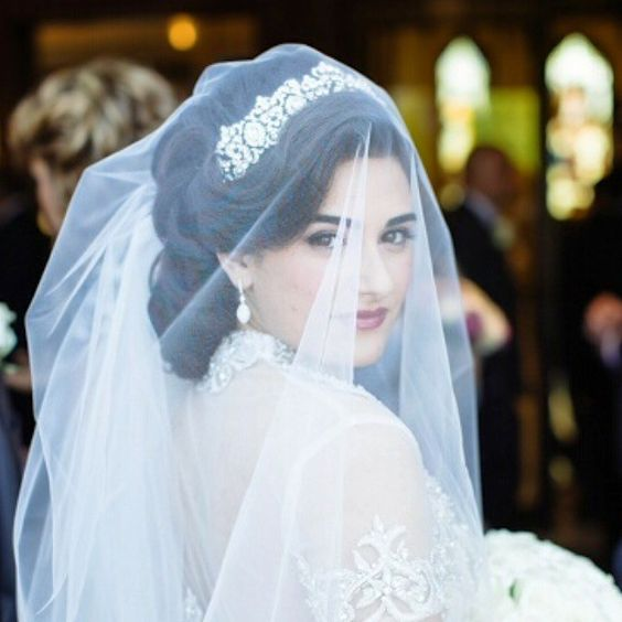 Wedding Hairstyles With Tiara And Veil: Swarovski Crystals, Brides And Veils On Pinterest