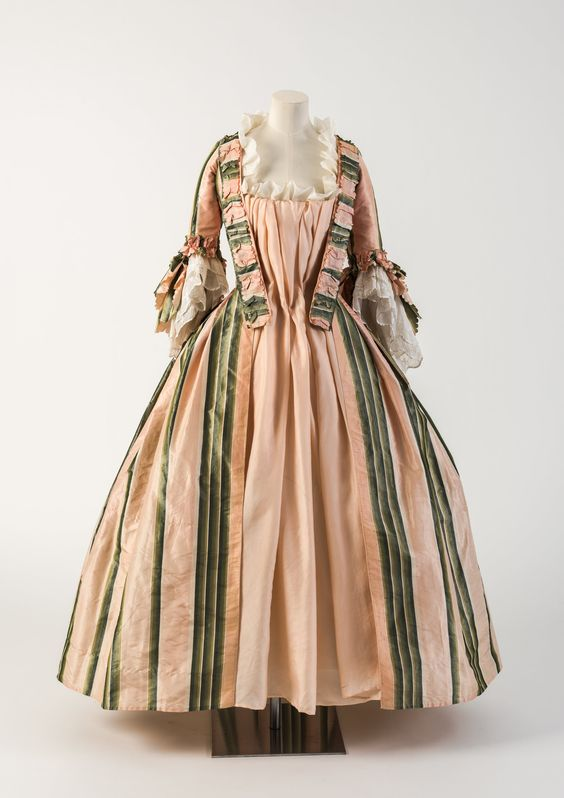 OBJECT 19 - Pink and green striped silk robe a l'anglaise, 1770s.  Fashion Museum Bath.