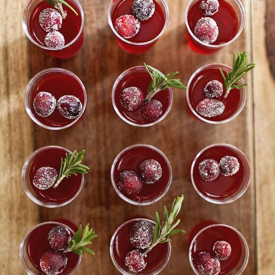 Cranberry jello shots!! A must for Thanksgiving don't you think? You can find the recipe in our blog archives.  #TBT by abeautifulmess