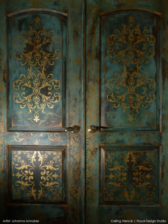 Beautifully stenciled, gilded, and patinated door by Johanna Annable using stencils from Royal Design Studio: