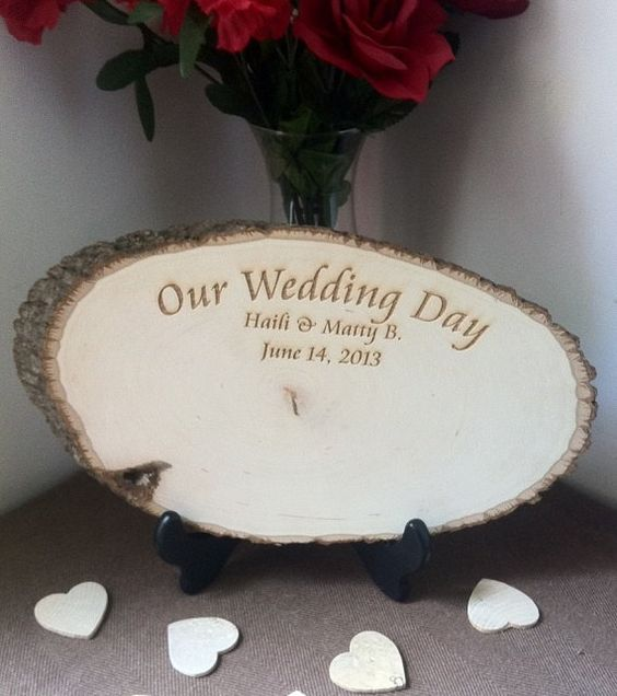Rustic Guest Book Tree Slice - Laser Engraved Names and Wedding Date - Rustic Gues Book - Real Tree Slice, $59.99